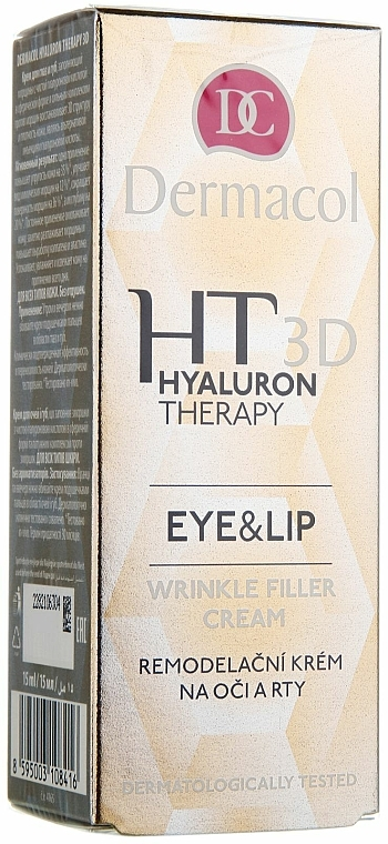 Eye and Lip Cream with Hyaluronic Acid - Dermacol Hyaluron Therapy 3D Eye and Lip Wrinkle Filler Cream