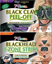 Fragrances, Perfumes, Cosmetics Black Clay Face Mask & Nose, Chin & Forehead Strips - 7th Heaven Charcoal Duo Black Clay Peel Off