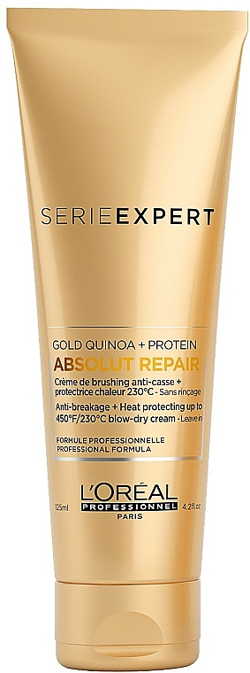 Heat Protection Cream for Very Damaged Hair - L'Oreal Professionnel Absolut Repair Gold Qunoa+Protein Crema