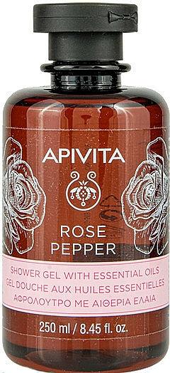 """Shower Gel with Essential Oils """"Rose and Pepper"""" - Apivita Shower Gel Rose & Black Pepper"""