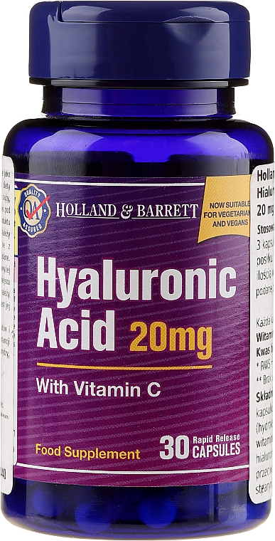 """Food Supplement """"Hyaluronic Acid and Vitamin C"""", 20 mg - Holland & Barrett Hyaluronic Acid With Vitamin C"""