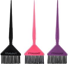 Fragrances, Perfumes, Cosmetics Wide Coloring Brushes, black, pink, purple - Framar Big Daddy Brush Set
