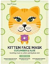 "Fragrances, Perfumes, Cosmetics Facial Sheet Mask ""Kitten"" with Cucumber & Aloe - 7th Heaven Face Food Kitten Face Mask Cucumber & Aloe"
