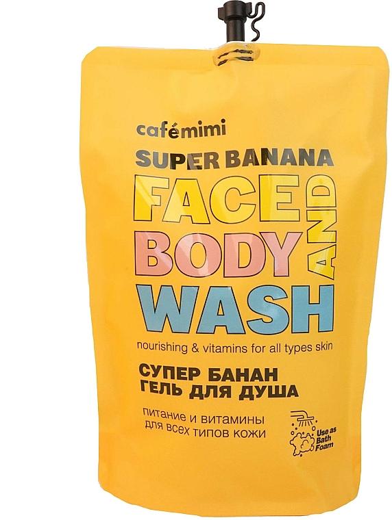 Super Banana Shower Gel - Cafe Mimi Super Banan Face And Body Wash (doypack)