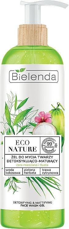 Facial Cleansing Gel - Bielenda Eco Nature Coconut Water Green Tea & Lemongrass Detox & Mattifyng Face Wash Gel