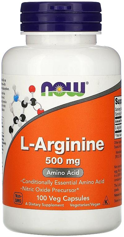 """Amino Acid """"L-Arginine"""", 500 mg - Now Foods L-Arginine Veg Capsules"""