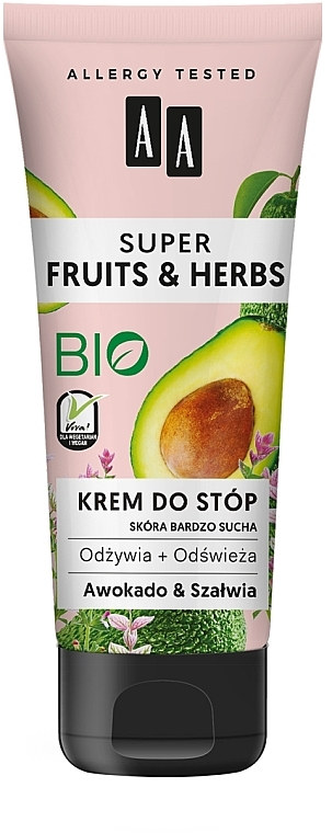 "Foot Cream ""Avocado and Sage"" - AA Super Fruits & Herbs"