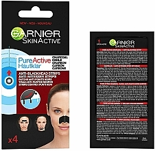 Fragrances, Perfumes, Cosmetics Anti-Blackhead Strips - Garnier Skin Active Pure Active Anti-Blackhead Charcoal Strips