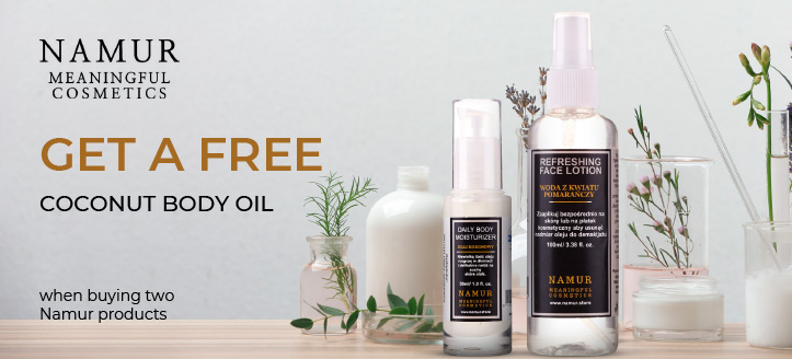 Get a free Coconut Body Oil when buying two Namur products
