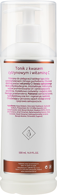 Citric acid and vitamin C Tonic - Charmine Rose C-Vit Acid 5% — photo N4