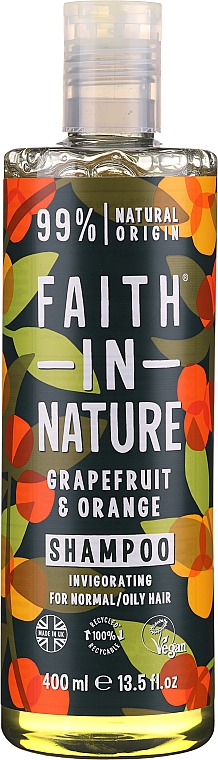 Shampoo for Normal and Greasy Hair 'Grapefruit and Orange' - Faith In Nature Grapefruit & Orange Shampoo