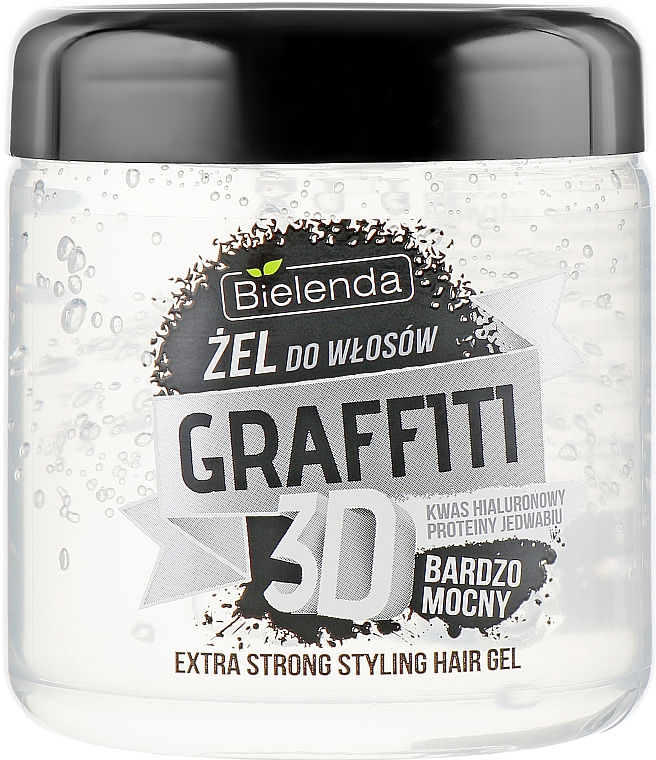 Hyaluronic Acid & Silk Protein Hair Gel - Bielenda GRAFFITI 3D Extra Strong Stayling Hair Gel