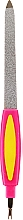 Fragrances, Perfumes, Cosmetics Metal Nail File with Cuticle Trimmer, 77777, pink-yellow - Top Choice