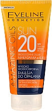 Fragrances, Perfumes, Cosmetics Sunscreen Emulsion for Tan SPF20 - Eveline Cosmetics Amazing Oils