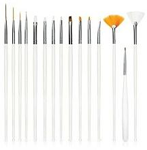 Fragrances, Perfumes, Cosmetics Nail Art Brush Set, 15, pcs, white - Deni Carte