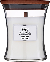 Fragrances, Perfumes, Cosmetics Scented Candle in Glass - WoodWick Hourglass Candle White Teak
