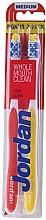 """Fragrances, Perfumes, Cosmetics Medium Toothbrush """"Total Clean"""", yellow+red - Jordan Total Clean Medium"""