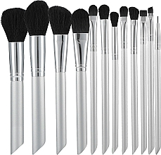 Fragrances, Perfumes, Cosmetics Professional Makeup Brushes Set, 12 pcs, silver and black - Tools For Beauty