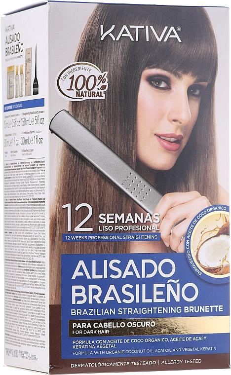 Keratin Hair Straightenin Kit, for brunettes - Kativa Alisado Brasileno Straighten Brunette (shm/15ml + mask/150ml + shm/30ml + cond/30ml + brush/1pcs + gloves/1pcs)