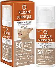 Fragrances, Perfumes, Cosmetics Facial Sun Care - Ecran Sunnique Antimanchas Color Spf50+