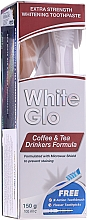 "Fragrances, Perfumes, Cosmetics Set ""Coffee & Tea Drinkers"", white & blue toothbrush - White Glo Coffee & Tea Drinkers Formula Whitening Toothpast (toothpaste/100ml + toothbrush)"