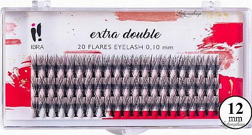 Individual Lashes, C 0,1 mm, 12 mm - Ibra Extra Double 20 Flares Eyelash C 12 mm