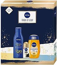 Fragrances, Perfumes, Cosmetics Set - Nivea Touch of Gold Set (sh/oil/200ml + b/lot/250ml + deo/50ml)