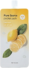 Fragrances, Perfumes, Cosmetics Lemon Night Mask - Missha Pure Source Pocket Pack Lemon