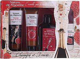 "Fragrances, Perfumes, Cosmetics Set ""Strawberry & Champagne"" - Nature De Marseille (sh/gel/150ml +cr/60ml + b/balm/100ml + soap/95g)"