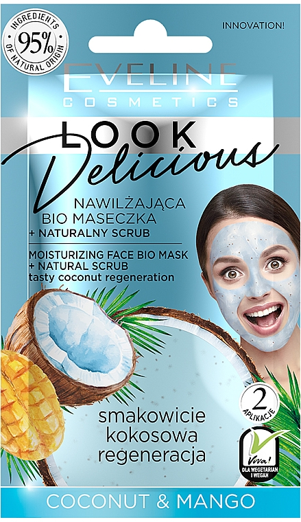 "Moisturizing Mask ""Coconut & Mango"" - Eveline Cosmetics Look Delicious Face Bio Mask"