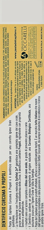 Turmeric & Propolis Toothpaste - Pasta Del Capitano, Turmeric & Propolis — photo N3