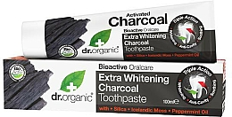 Fragrances, Perfumes, Cosmetics Toothpaste with Activated Charcoal - Dr. Organic Extra Whitening Charcoal Toothpaste