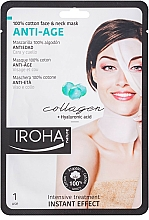 Fragrances, Perfumes, Cosmetics Face Sheet Mask - Iroha Nature Anti-Age Collagen 100% Cotton Face & Neck Mask