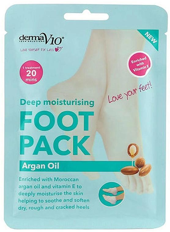 Softening Foot Sock-Mask - Derma V10 Foot Mask Argan Oil — photo N1