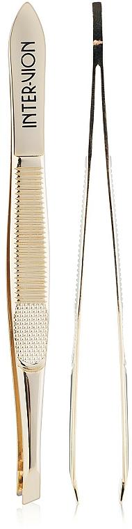 Andled Brow Tweezer, 499925, golden - Inter-Vion
