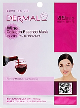 Fragrances, Perfumes, Cosmetics Collagen and Red Wine Extract Mask - Dermal Wine Collagen Essence Mask
