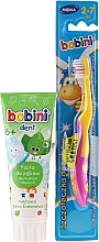 Fragrances, Perfumes, Cosmetics Set with Yellow and Pink Brush - Bobini (toothbrush + toothpaste/75ml)