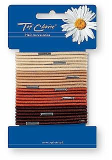 Elastic Hair Bands, brown, 24 pcs - Top Choice — photo N1