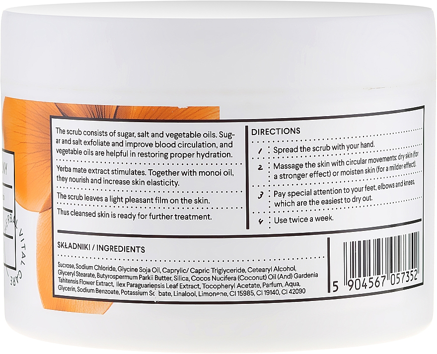 "Body Peeling ""Mate Tea and Monoi Oil"" - Vis Plantis Sugar & Salt Body Scrub — photo N3"