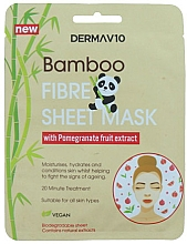 Fragrances, Perfumes, Cosmetics Facial Bambo Fibre & Pomegranate Sheet Mask - Derma V10