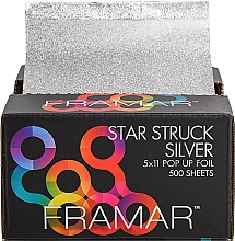 Fragrances, Perfumes, Cosmetics Hairdressing Pop Up Foil Sheets, 12,5 x 28 cm - Framar Star Struck Silver