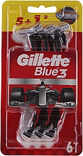 Fragrances, Perfumes, Cosmetics Disposable Shaving Razor Set, 5+1 pcs - Gillette Blue III Red and White