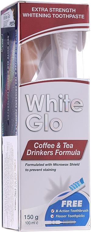 "Set ""Coffee & Tea Drinkers"", white & blue toothbrush - White Glo Coffee & Tea Drinkers Formula Whitening Toothpast (toothpaste/100ml + toothbrush)"