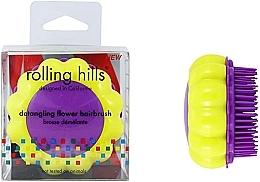 "Fragrances, Perfumes, Cosmetics Compact Hair Brush ""Chamomile"", yellow/lilac - Rolling Hills Brosse Desenredar Flower"