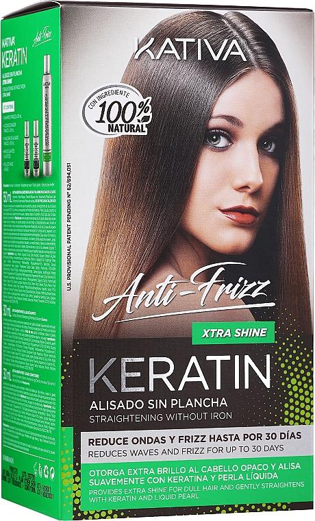 Keratin Smoothing Hair Set - Kativa Keratin Anti-Frizz Xtra Shine (h/mask/150ml + shmp/30ml + h/cond/30ml)