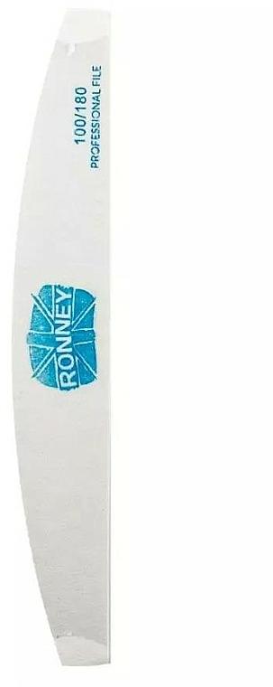 Crescent Nail File, 100/180, white - Ronney Professional Premium Half Moon Nail Files