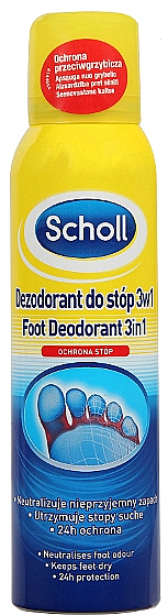 Foot Antiperspirant Deodorant - Scholl 3in1 Antiperspirant