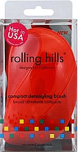 Fragrances, Perfumes, Cosmetics Compact Hair Brush, red - Rolling Hills Compact Detangling Brush Red