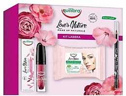 Fragrances, Perfumes, Cosmetics Set - Equilibra Love's Nature Make Up (lip/pencil/1.8g + lip/gloss/3ml + wipes/15pc)