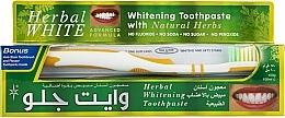 "Fragrances, Perfumes, Cosmetics Set ""Medicinal Herbs"" with white & yellow toothbrush - White Glo Herbal White (t/paste/100ml + t/brush/1)"